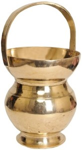 The water pot is either made of copper or mud which represents Bhoomi as the mineral ores are coming from earth and agin earth is said to be the combination of OJAS & SAHAS.